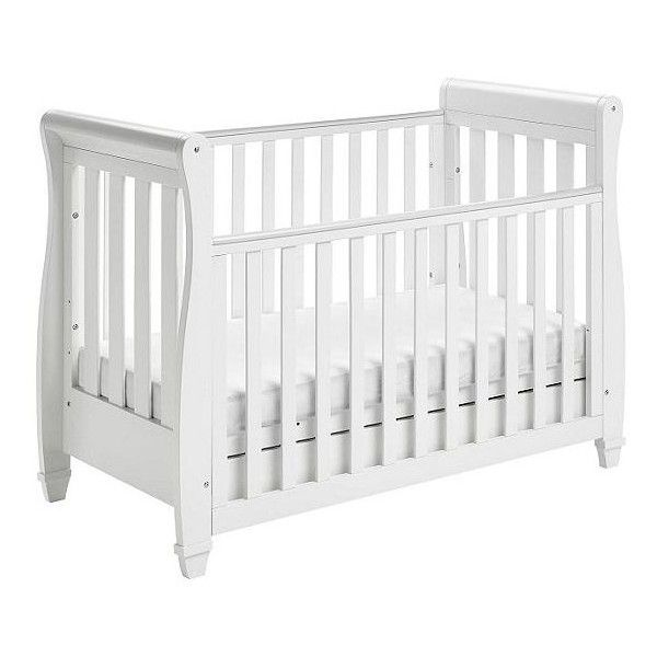 Babymore Eva Sleigh Cot Bed Dropside with Drawer (White) (€225) ❤ liked on Polyvore featuring home, furniture, beds, sleigh style bed, drawer bed, sleigh bed, white bed and white sleigh bed