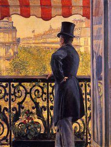 Gustave Caillebotte, Hombre asomado al balcón, 1880, óleo sobre lienzo, 117x90 cm, Suiza, colección particular.