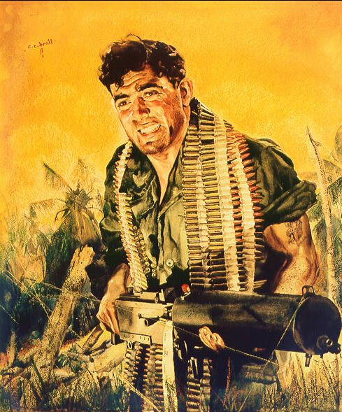 John Basilone - He served three years in the United States Army with duty in the Philippines before joining the Marine Corps. In 1940 he joined the Marine Corps and after attending training was sent to Guantanamo Bay, Cuba, the Solomon Islands and eventually to Guadalcanal where he held off 3,000 Japanese troops after his 15-member unit was reduced to two men. He was killed in action on the first day of the Battle of Iwo Jima, after which he was posthumously honored with the Navy Cross.
