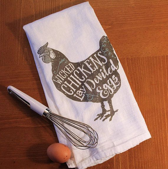 WICKED CHICKENS LAY DEVILED EGGS  Add some fun to your kitchen with this vintage-inspired kitchen towel. Makes a fun holiday gift, hostess gift,