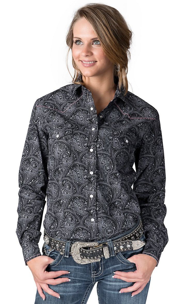 Rough Stock® Women's Black with Pale Pink Paisley Print Long Sleeve Western Shirt