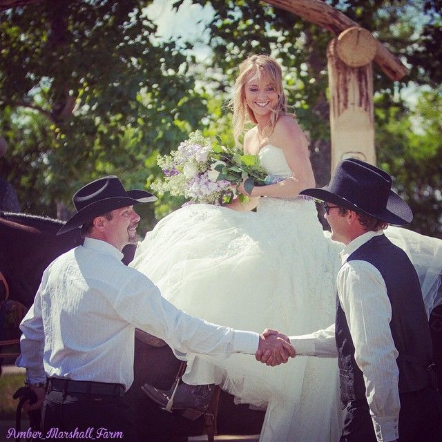 """ambermarshalldaily: """"amber_marshall_farm: Wedding Wednesday!! Here Shawn and my dad shake hands as my dad """"gives me away"""" to my husband to be. """""""