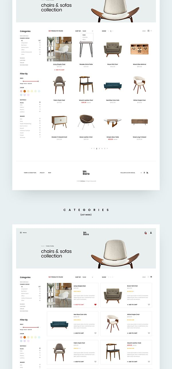 Furniture Site Concept on Behance