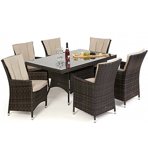 San Diego Rattan Garden Furniture Brown 6 Seater Rectangle Table Set Part 88