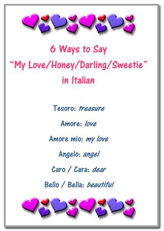 "Free printable: Valentine's Day words in Italian  Learn how to say ""Love"" and other affectionate words for your cards and messages."