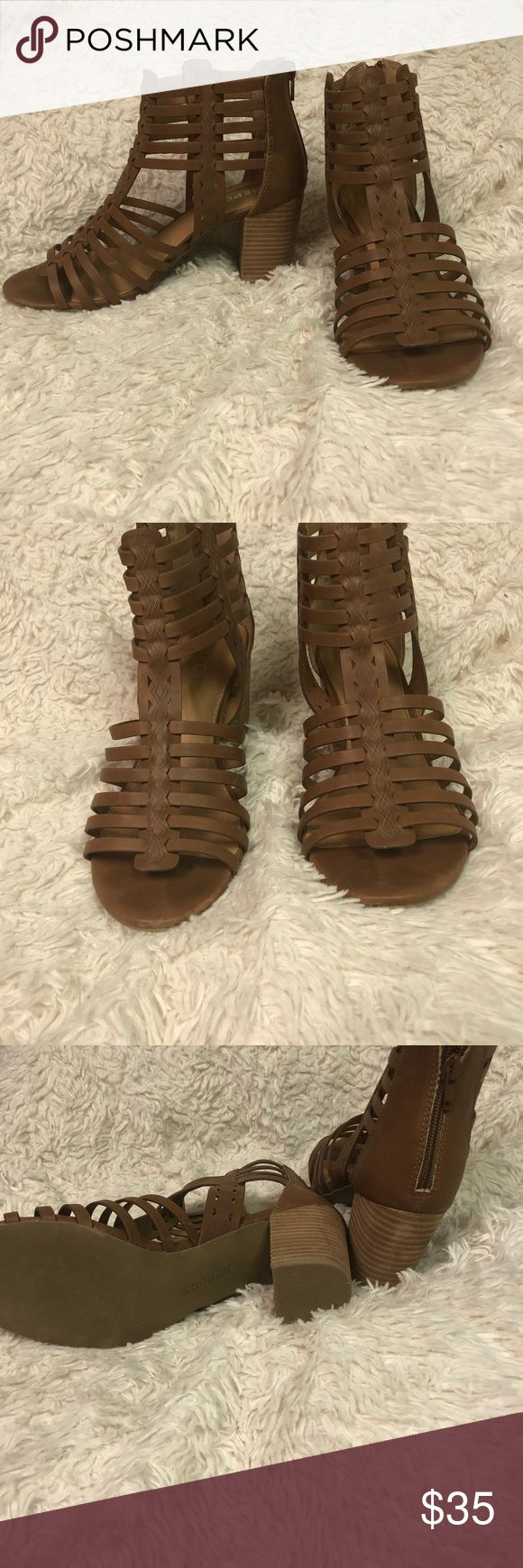9.5 heeled sandals Only worn once for a wedding. Bought new. Great condition. Report Shoes Sandals
