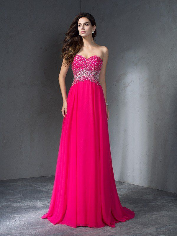 659d665b1a5 A-Line Princess Sweetheart Beading Sleeveless Long Chiffon Dresses - Prom  Dresses - Hebeos Online