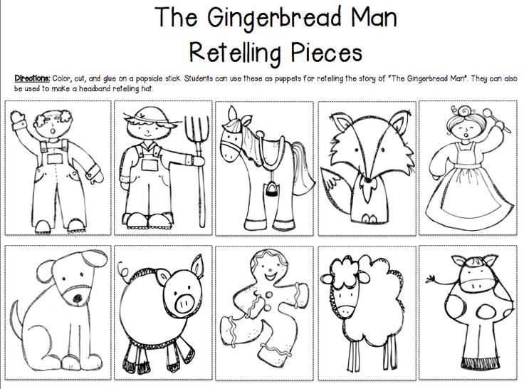 Zany image within gingerbread man story printable