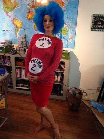 15 Halloween Costumes For Pregnant Women That Totally Win- Thing One and Thing Two- This get-up could not be any simpler/cuter. Plus, seriously, who doesn't like Dr. Seuss? Check out all of the ways you can accessorize your baby bump this Halloween at redbookmag.com.