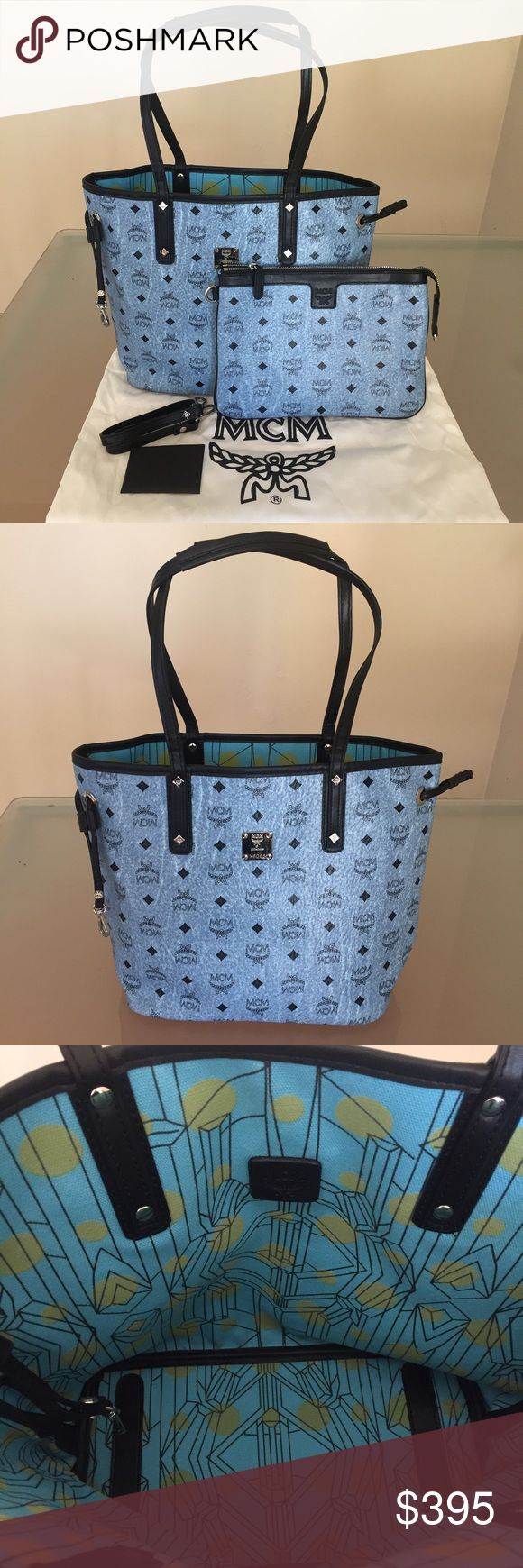 MCM Bag Reversible Blue MCM Tote Authentic MCM Bag Reversible Blue MCM Tote Authentic Guaranteed.  If you like this, you'll definitely love my other listings. check em out ^_^ MCM Bags Totes