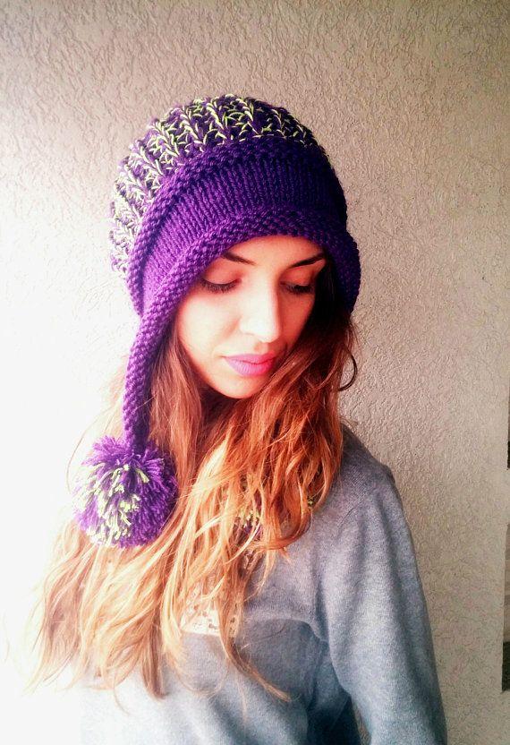 de94b5618ee Knit pom pom hat Winter flapper beanie Crochet two colors cap Chunky modern hat  Girl s beanie Ear Fl
