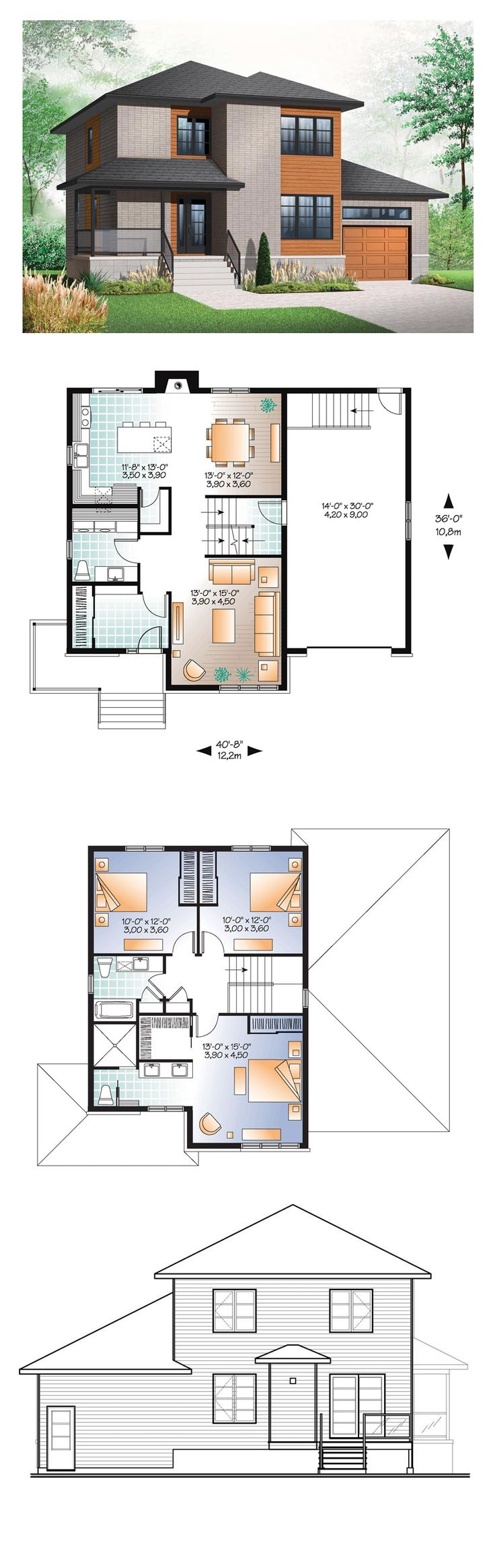 Modern House Plan 76324   Total Living Area: 1768 sq. ft., 3 bedrooms and 2.5 bathrooms. #modernhome