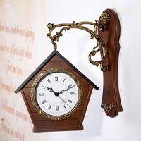 SB117 Hout Huis Vormige Dubbelzijdig Wandklok Modern Design tijd Horloge Grote Wandklok Horloge Woondecoratie Digitale klokken