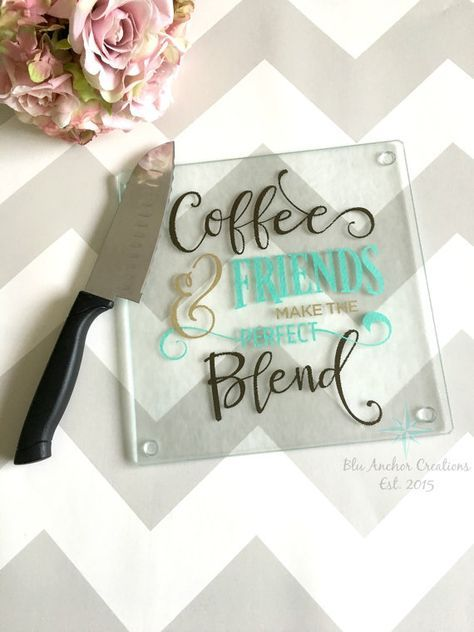 Coffee and Friends Cutting Board, Glass Cutting Board, Housewarming Gift, Best Friend Gift