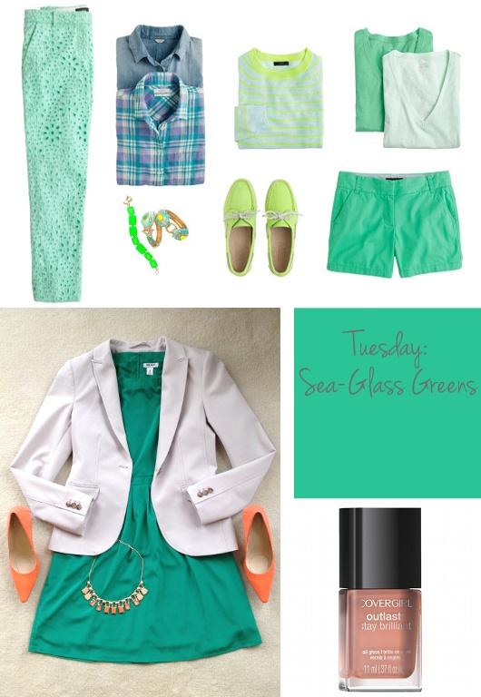 Sea-Glass Greens. Want those eyelet pants soo bad