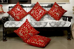 Embroidered Pejali  Sequence  Velvet Red Cushion Cover (Pack of 5) By Dekor…