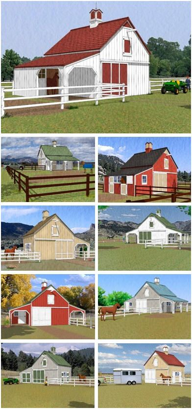 Chestnut Horse Barn Plans - Build any of nine different layouts from one inexpensive set of pole-barn plans, Have 2, 3 or 4 stalls, a big front-to-back alley and a hay loft. Add an optional grooming shelter, garage, workshop, tack room
