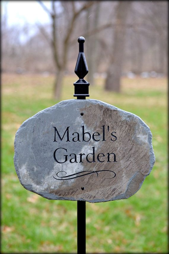 Garden Plaque w/ Lawn Stake / Cottage Sign /stone marker House Cabin Name sign