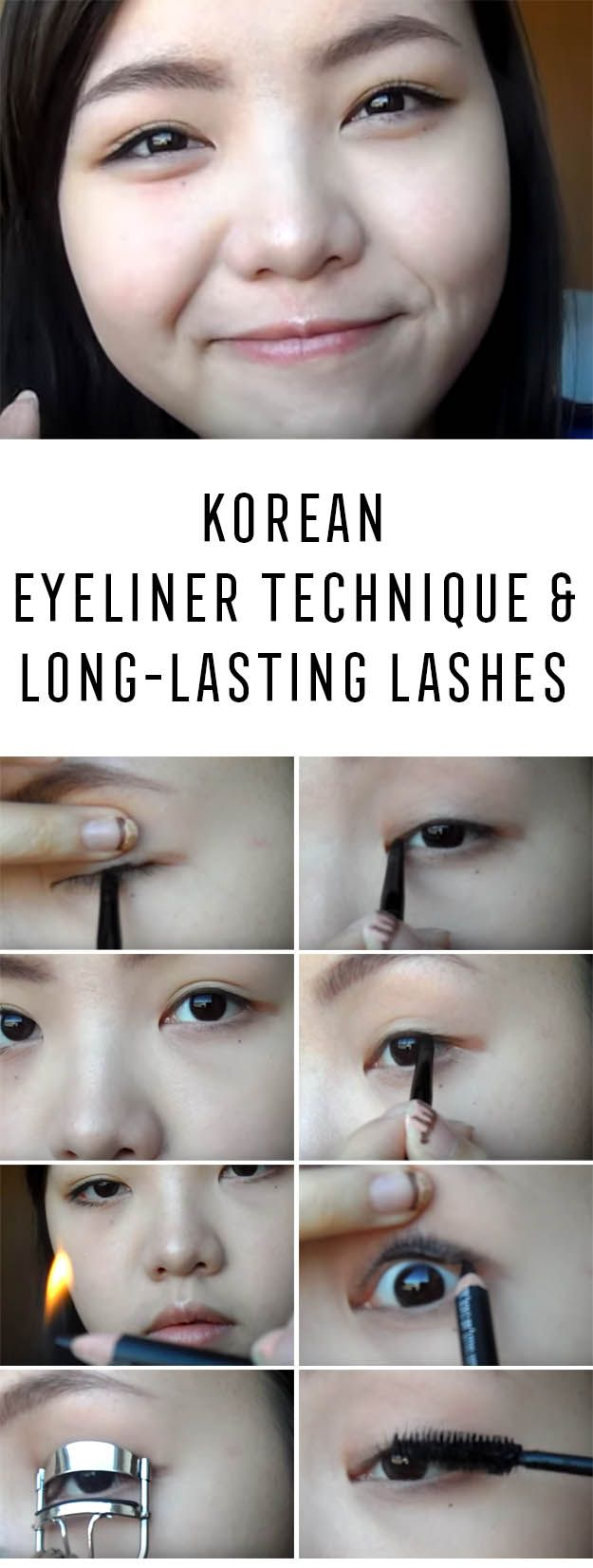 Best Korean Makeup Tutorials - [2 in1] Korean Eyeliner Technique & Long-lasting Lashes - Natural Step By Step Tutorials For Ulzzang, Pony, Puppy Eyes, Eyeshadows, Kpop, Eyebrows, Eyeliner and even Hairstyles. Super Cute DIY And Easy Contouring, Foundation, and Simple Dewy Skin Help For Beginners - https://www.thegoddess.com/best-korean-makeup-tutorials