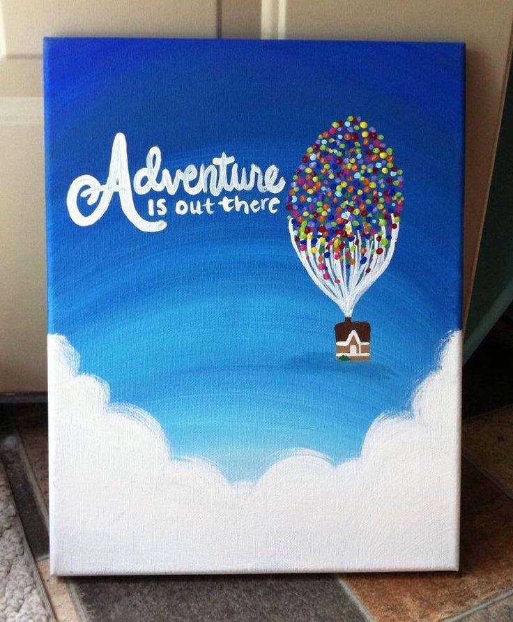 A personal favorite from my Etsy shop https://www.etsy.com/listing/164331924/adventure-is-out-there-up-canvas #ktscanvases