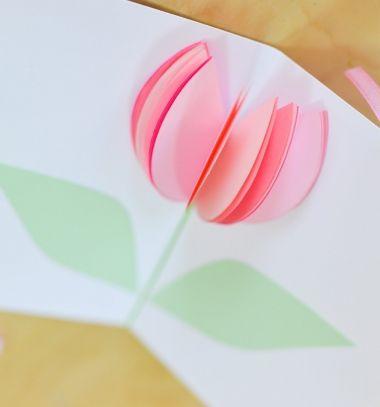 DIY Easy paper spring flower greeting card for Mother's Day // Egyszerű tavaszi tulipános (virágos) térbeli képeslapok papírból // Mindy - craft tutorial collection