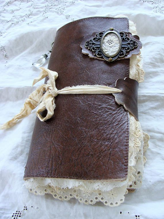 Leather and Lace Travelers Notebook, Junk Journal, Dori, Planner, Smash Book, Vintage, Shabby, Tattered, Handmade