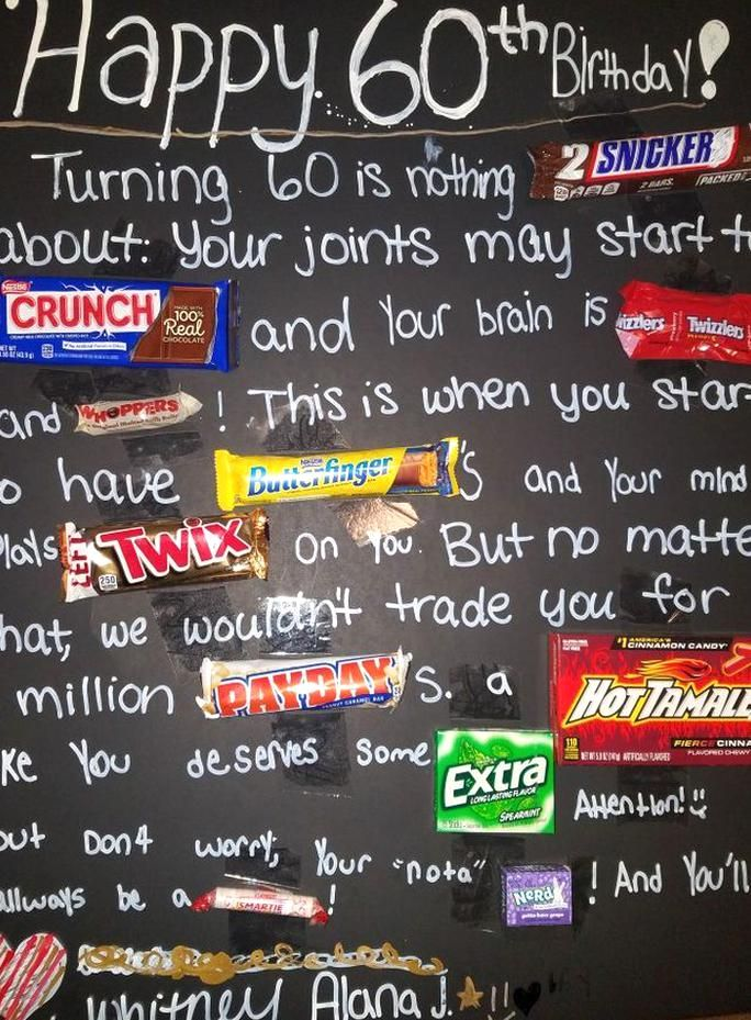 60th Birthday Poster With Candy Bars Made This For My Dad With My Oldest In 2020 60th Birthday Poster 60th Birthday Cards Candy Bar Birthday