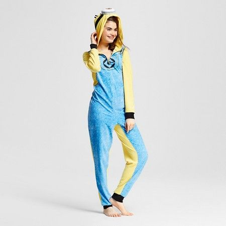Women's Minions One Piece Hooded Union Suit Pajamas : Target