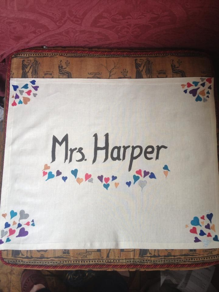 Hand made and hand painted bride's napkin