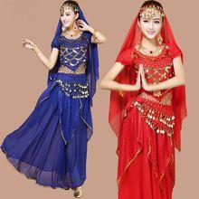 4 unids Triba Gitana Traje de la Danza Del Vientre Bellydance Indio Vestido de la Danza Del Vientre Ropa de Danza Del Vientre Trajes de Danza Bollywood(China (Mainland))