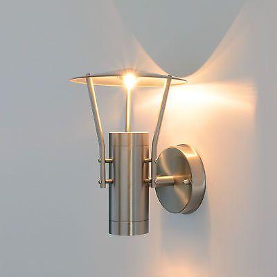 Außenleuchte Wandlampe Edelstahl Halbrund E27 Fassadenbeleuchtung Haus Garten