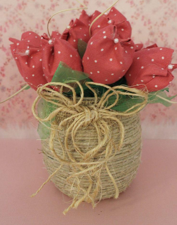 Fabric tulips vase / Vaso de tulipas de tecido/ Free shipping