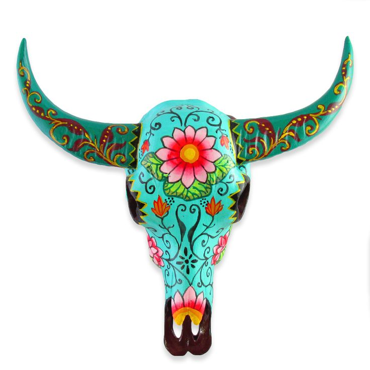 15CM HANDPAINTED TURQUOISE RESIN ➳  COW SKULL