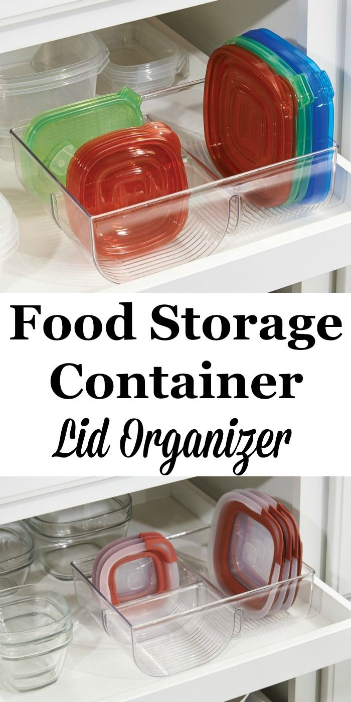 Food container lids are always hard to keep organized. Here's one idea -- use a food storage container lid organizer inside your cabinet, like this one.