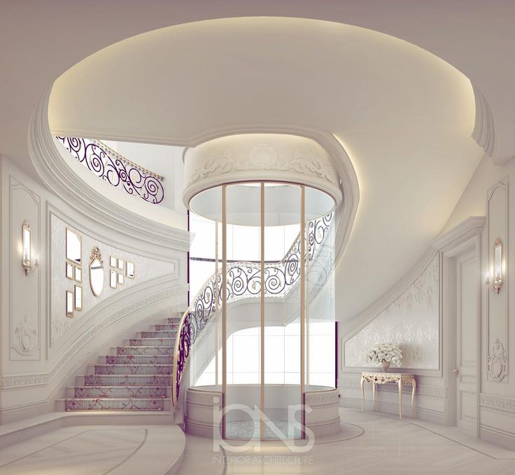 Elegant Staircase in White & Purple colors..