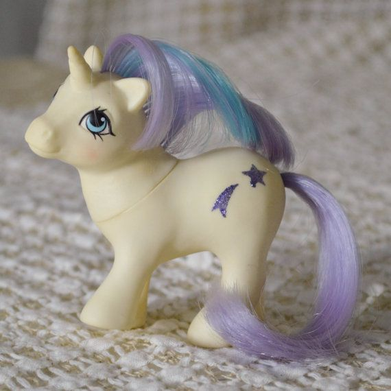 Vintage My Little Pony 'Baby Glory'  Glitter Symbol White Purple Unicorn G1 1984 rare MLP Moon Star by TeaJay