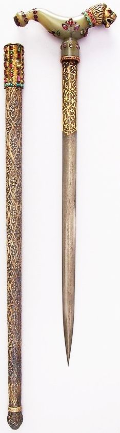 Indian crutch dagger (zafar takieh), 18th to 19th century, L. with sheath 22 5/8 in. (57.5 cm); L. without sheath 18 3/4 in. (47.6 cm); W. 5 1/4 in. (13.3 cm); Wt. 12.3 oz. (348.7 g); Wt. of sheath 7.1 oz. (201.3 g), Met Museum, Bequest of George C. Stone, 1935.