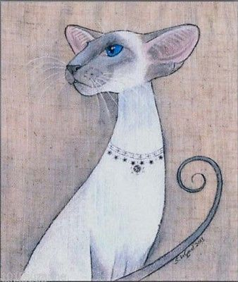 Siamese Cat bluepoint art print large from original painting by Suzanne Le Good