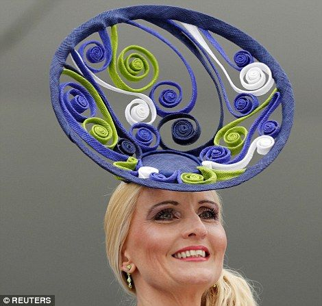 One woman sported a dramatic navy, white and green creation with geometric swirls