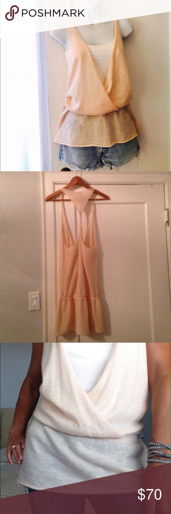 Amazing Free People Cashmere Tank A soft baby pink, so soft to the touch and amazing to wear! Twisted Racerback. Gathers at the waist.  Measures 16 1/2 inches armpit to armpit and about 34 inches from shoulder to hem, from shoulder to waist is about 25 inches. Runs big. Free People Sweaters V-Necks