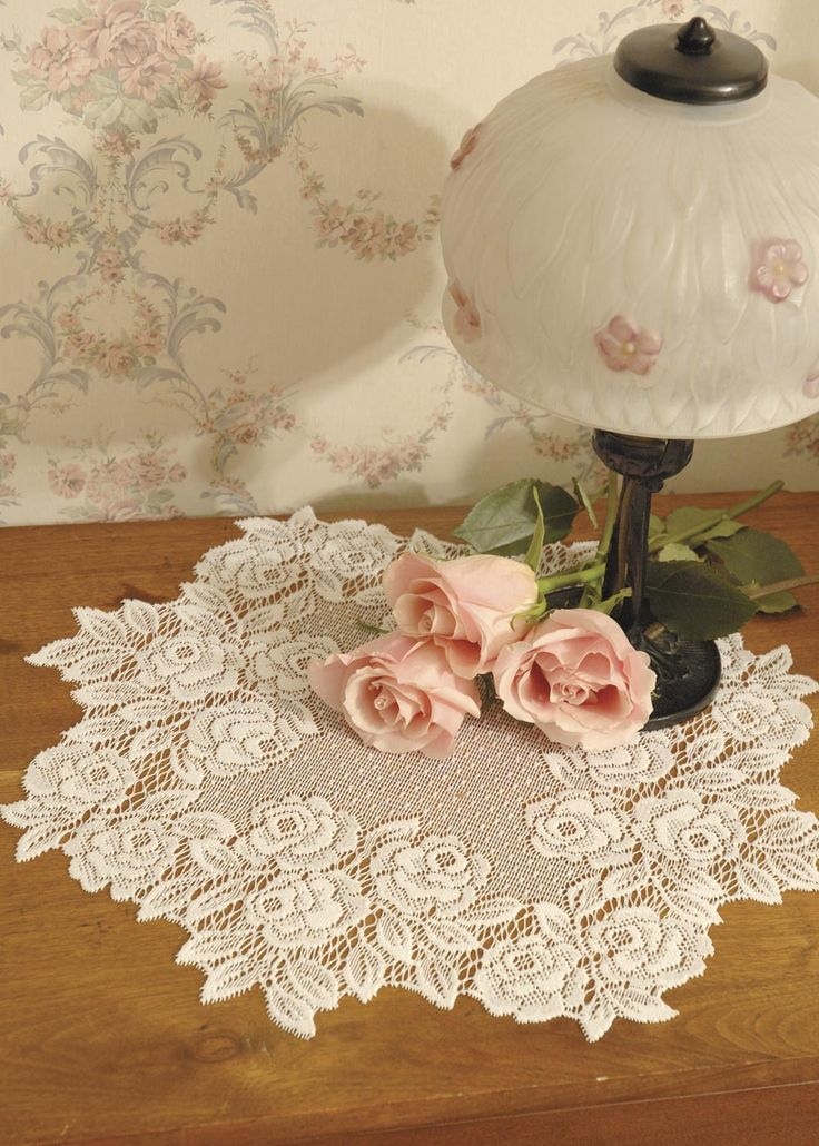 Romantic Tea Rose lace doilies with a finely-dotted background and with intricate-cut edging pair perfectly with floral arrangements. #wedding