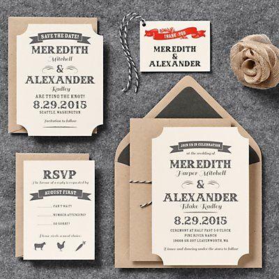 Vintage Ticket Wedding Invitation - Meredith & Alexander | Paper Source