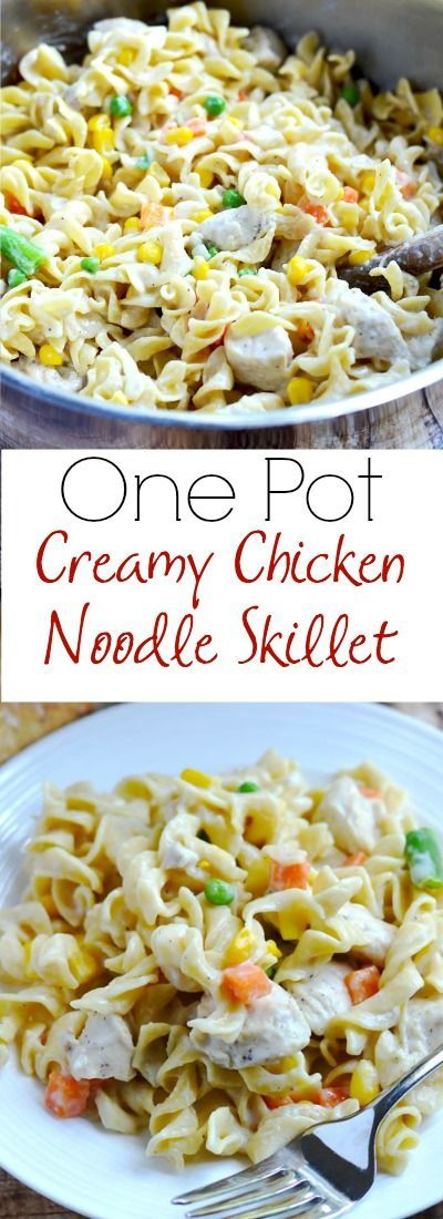 One pot creamy chicken and noodle skillet is a comforting and easy meal that your whole family will love! | http://APinchOfHealthy.com