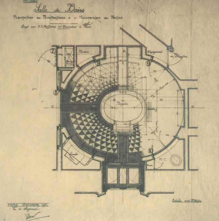 The Devoted Classicist: Palacio de Liria: The Madrid Residence Of The Duchess Of Alba  Rateau's 1921 plan of the bathroom.