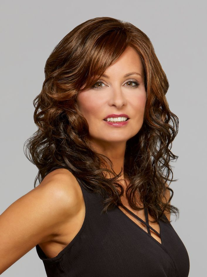 Mane Attraction Hollywood Lace Front Wig, MAHOGANY Dark Auburn & Medium Brown With Warm Strawberry Highlights