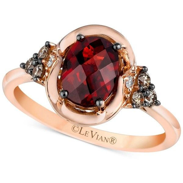 Le Vian Chocolatier Pomegranate Garnet (1-1/2 ct. t.w.) & Diamond (1/5... ($1,169) ❤ liked on Polyvore featuring jewelry, rings, garnet, oval cut diamond ring, 14 karat diamond ring, 14k diamond ring, 14 karat gold ring and white ring