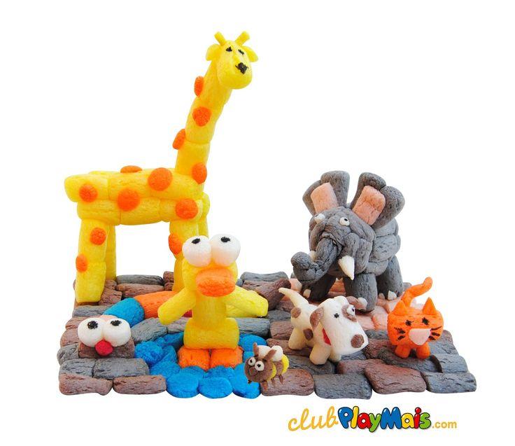 Play mais animals zoo & pets giraffe snake cat dog bee elephant duck