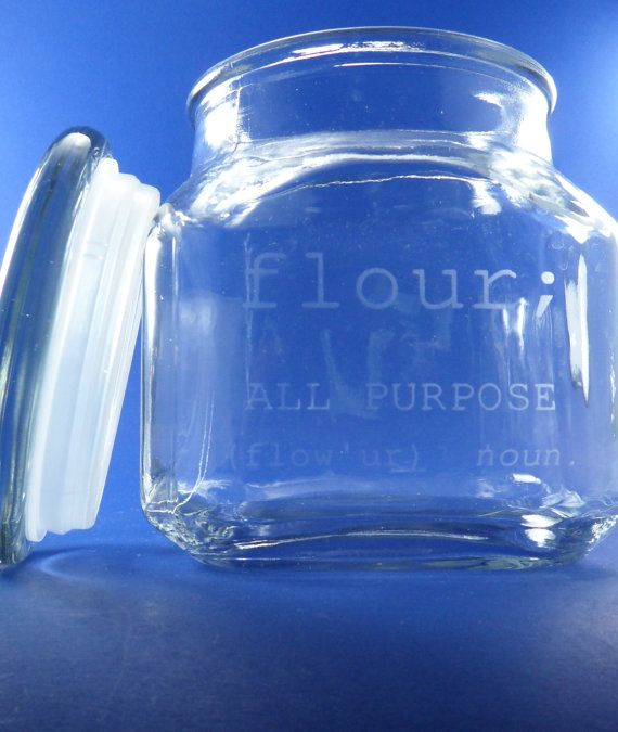 Set Of Personalized Etched Gl Kitchen Canisters Flour Sugar
