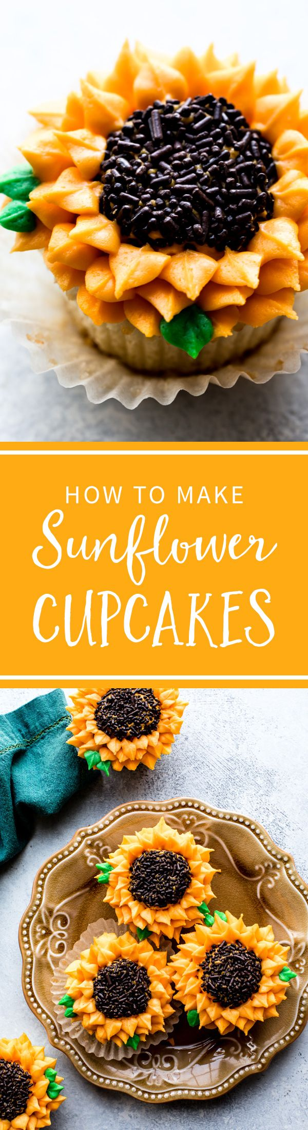 How to pipe sunflowers onto cupcakes! Sunflower cupcakes recipe on sallysbakingaddiction.com