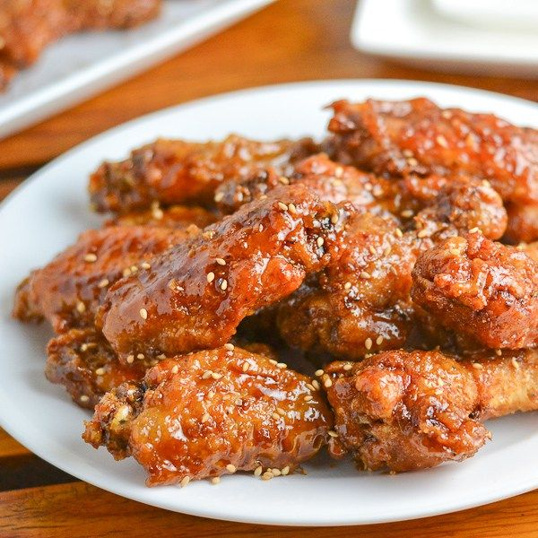 These crispy Korean fried chicken wings are fried and coated in olive oil, garlic, soy sauce, honey, vinegar, mustard and brown sugar.